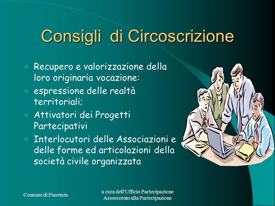Comune di Piacenza a cura dell'Ufficio Partecipazione Assessorato alla Partecipazione Consigli di Circoscrizione Recupero e valorizzazione della loro