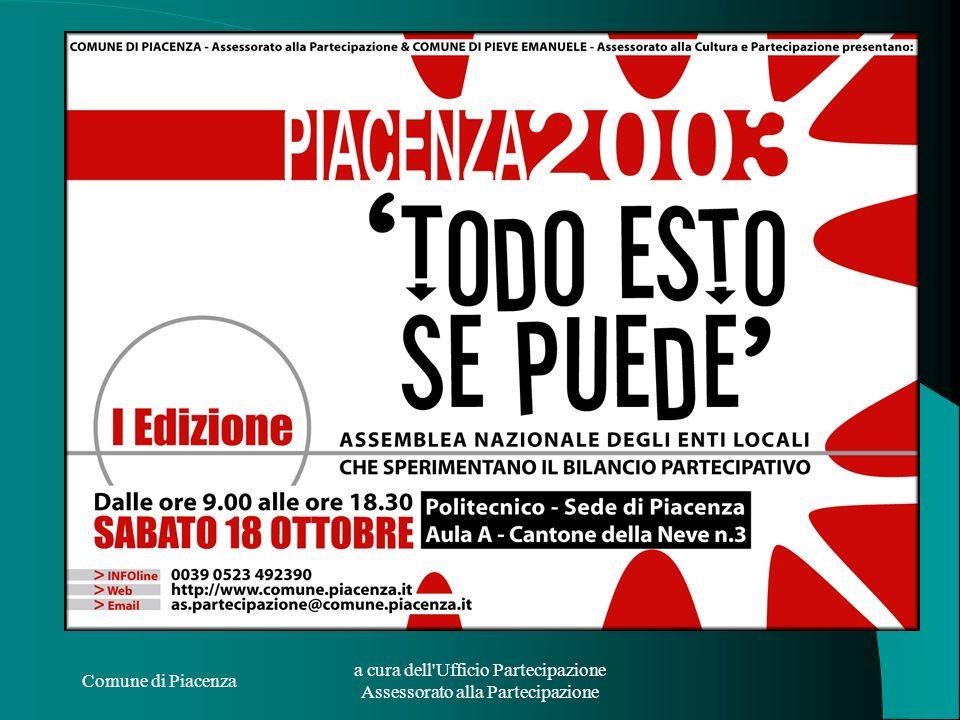 Comune di Piacenza a cura dell'Ufficio Partecipazione Assessorato alla Partecipazione