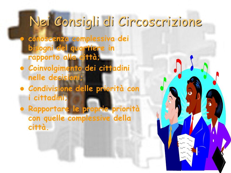 Nei Consigli di Circoscrizione conoscenza complessiva dei bisogni del quartiere in rapporto alla città; Coinvolgimento dei cittadini nelle decisioni;