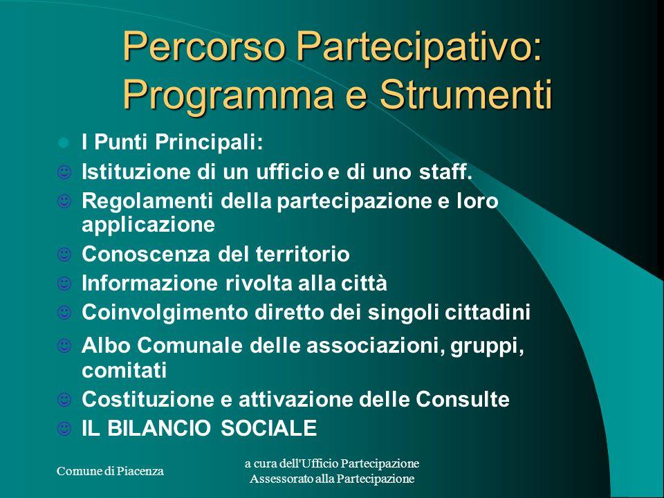 Comune di Piacenza a cura dell'Ufficio Partecipazione Assessorato alla Partecipazione Percorso Partecipativo: Programma e Strumenti I Punti Principali