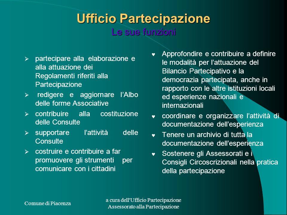 Comune di Piacenza a cura dell'Ufficio Partecipazione Assessorato alla Partecipazione Ufficio Partecipazione Le sue funzioni partecipare alla elaboraz