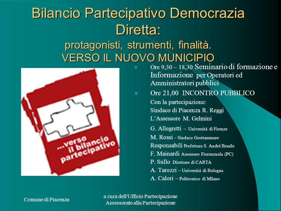 Comune di Piacenza a cura dell'Ufficio Partecipazione Assessorato alla Partecipazione Bilancio Partecipativo Democrazia Diretta: protagonisti, strumen