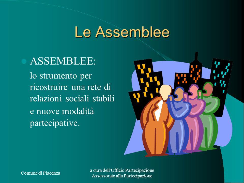 Comune di Piacenza a cura dell'Ufficio Partecipazione Assessorato alla Partecipazione Le Assemblee ASSEMBLEE: lo strumento per ricostruire una rete di