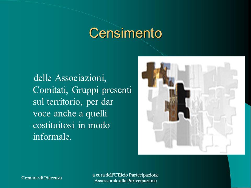 Comune di Piacenza a cura dell'Ufficio Partecipazione Assessorato alla Partecipazione Censimento delle Associazioni, Comitati, Gruppi presenti sul ter