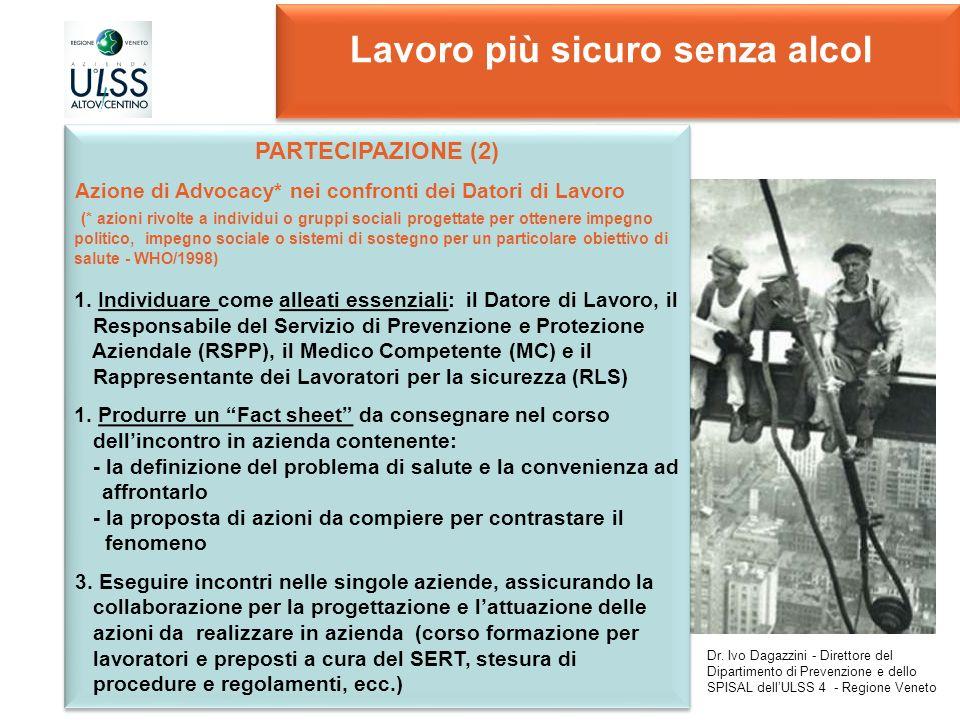 Lavoro più sicuro senza alcol PARTECIPAZIONE (2) Azione di Advocacy* nei confronti dei Datori di Lavoro (* azioni rivolte a individui o gruppi sociali