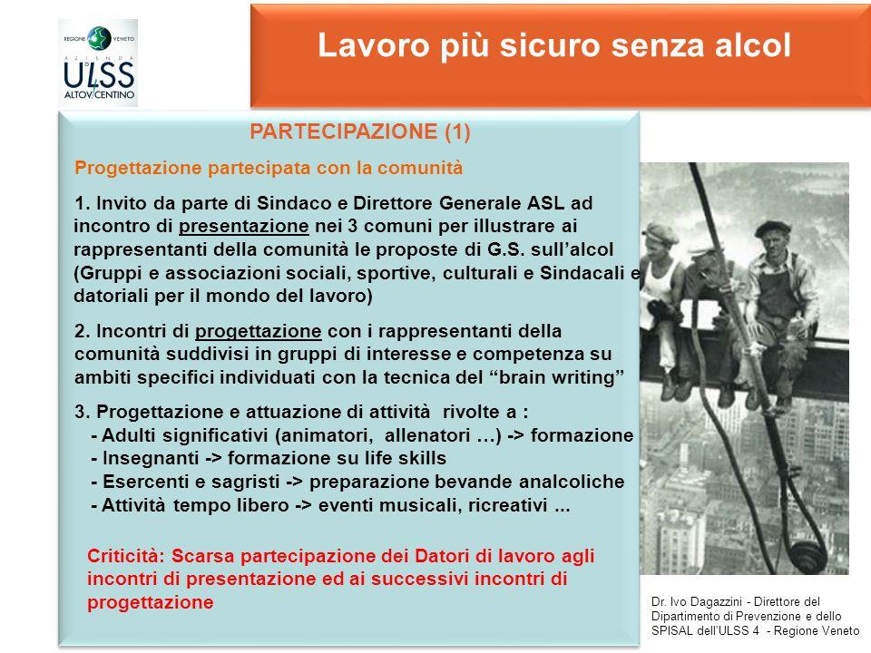 Lavoro più sicuro senza alcol Dr. Ivo Dagazzini - Direttore del Dipartimento di Prevenzione e dello SPISAL dellULSS 4 - Regione Veneto Criticità: Scar