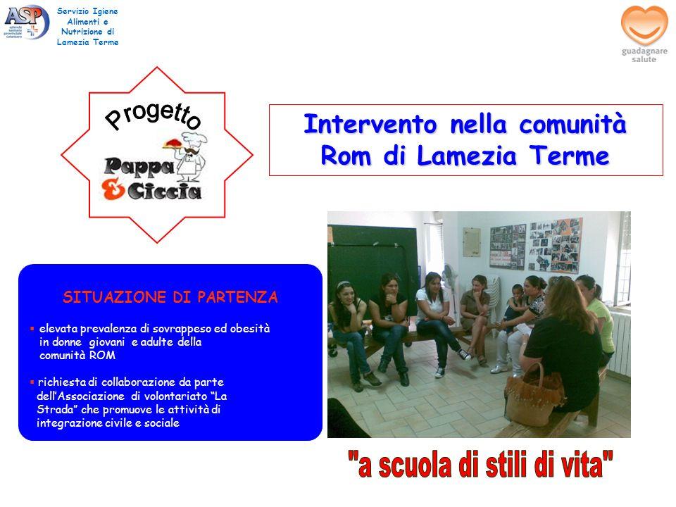 Intervento nella comunità Rom di Lamezia Terme Servizio Igiene Alimenti e Nutrizione di Lamezia Terme SITUAZIONE DI PARTENZA elevata prevalenza di sov