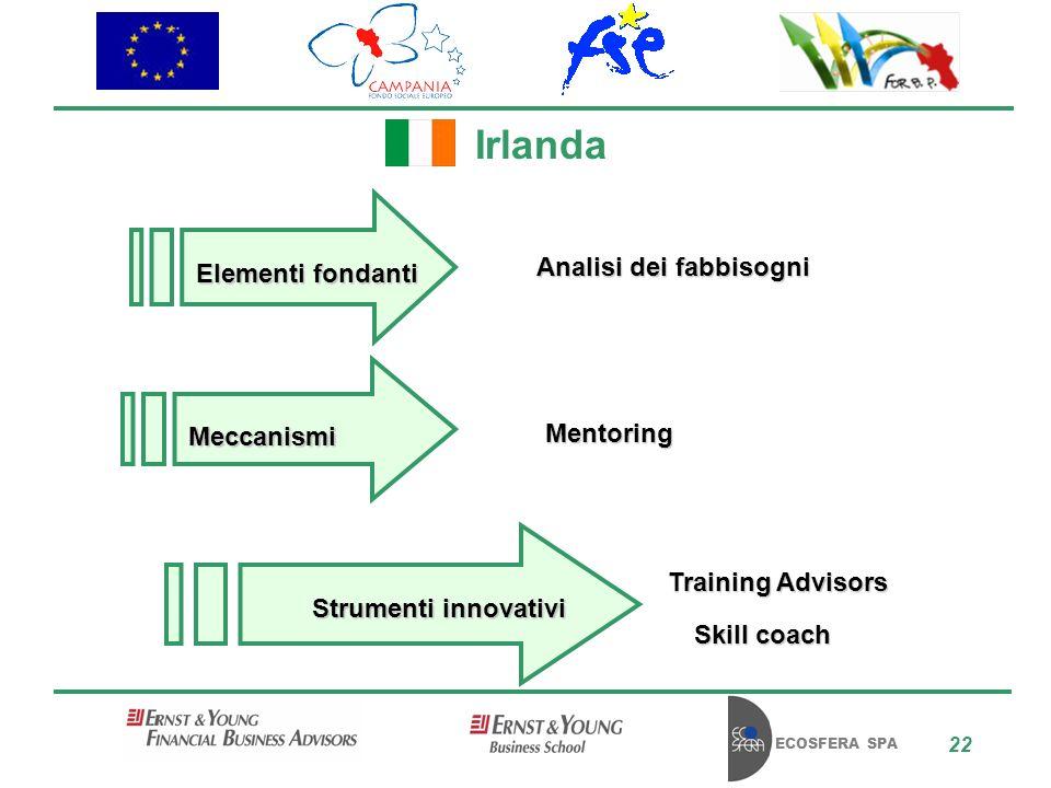 ECOSFERA SPA 22 Irlanda Analisi dei fabbisogni Training Advisors Skill coach Mentoring Elementi fondanti Meccanismi Strumenti innovativi