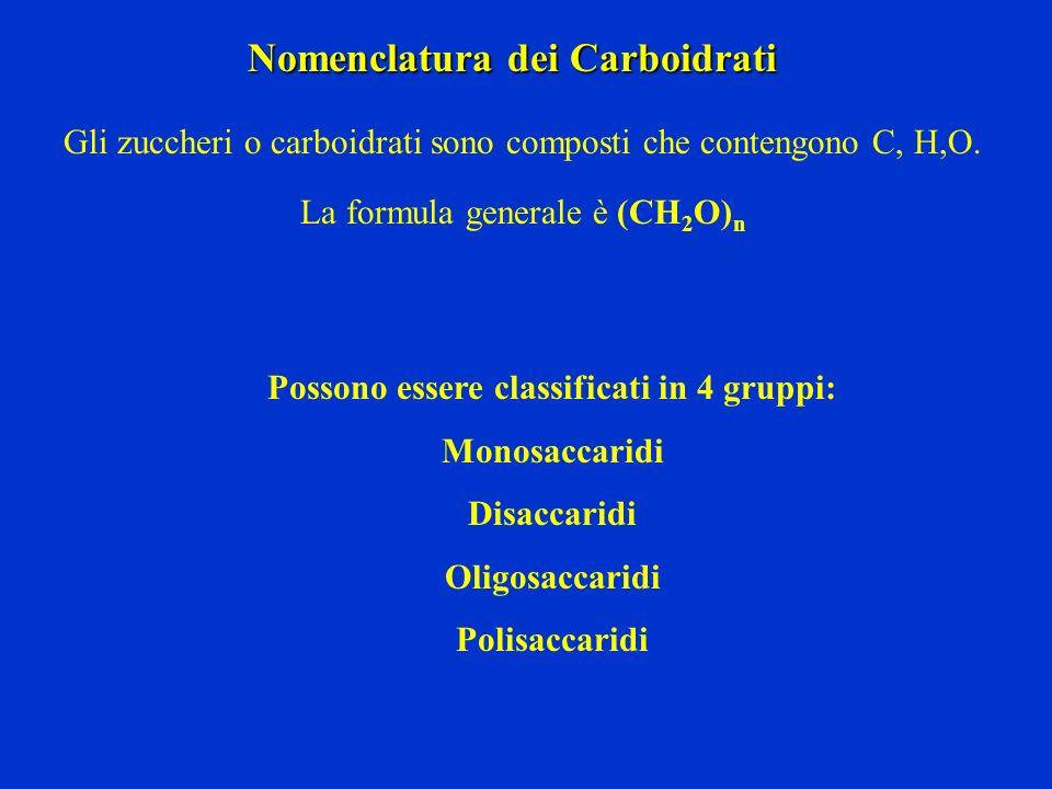 I carboidrati sono composti polifunzionali che contengono: un gruppo carbonilico uno o più gruppi alcolici ALDOSI Se il gruppo carbonilico è unaldeide avremo degli ALDOSI CHETOSI Se il gruppo carbonilico è un chetone avremo dei CHETOSI I carboidrati più semplici (con n > = 3 ) sono : monosaccaridi