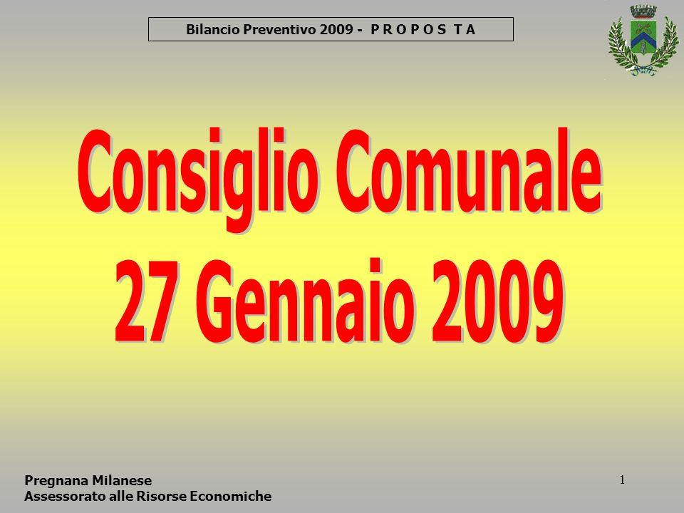 52 Bilancio Preventivo 2009 Pregnana Milanese Assessorato alle Risorse Economiche Consiglio Comunale 27 Gennaio 2009