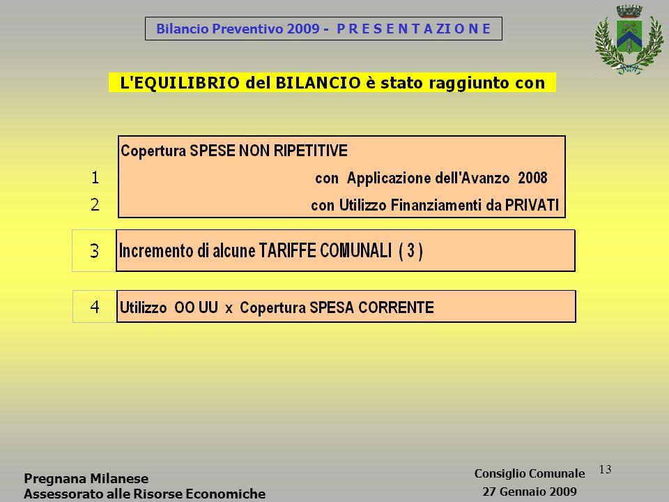 13 Bilancio Preventivo 2009 - P R E S E N T A ZI O N E Pregnana Milanese Assessorato alle Risorse Economiche Consiglio Comunale 27 Gennaio 2009