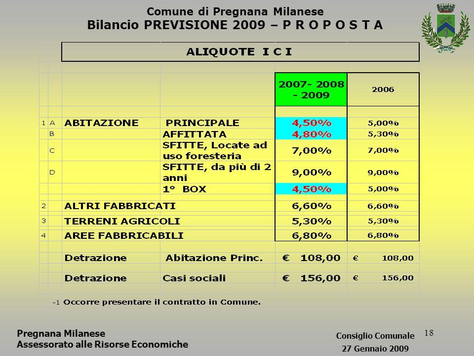 18 Comune di Pregnana Milanese Bilancio PREVISIONE 2009 – P R O P O S T A Pregnana Milanese Assessorato alle Risorse Economiche Consiglio Comunale 27 Gennaio 2009