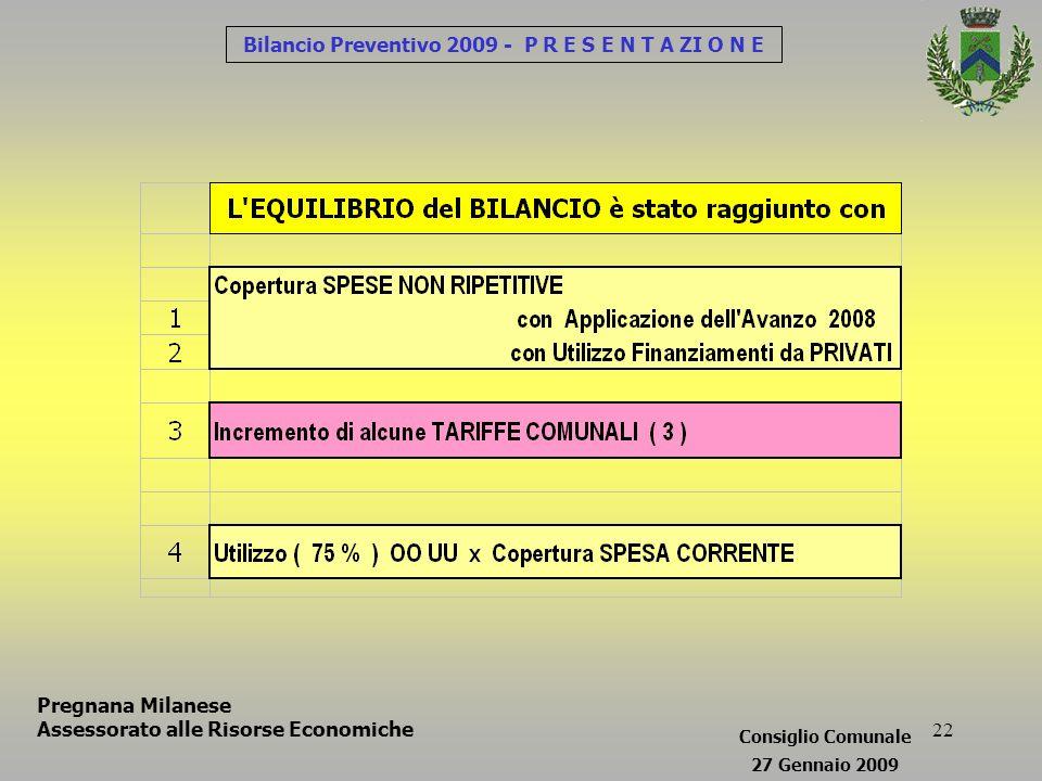 22 Bilancio Preventivo 2009 - P R E S E N T A ZI O N E Pregnana Milanese Assessorato alle Risorse Economiche Consiglio Comunale 27 Gennaio 2009