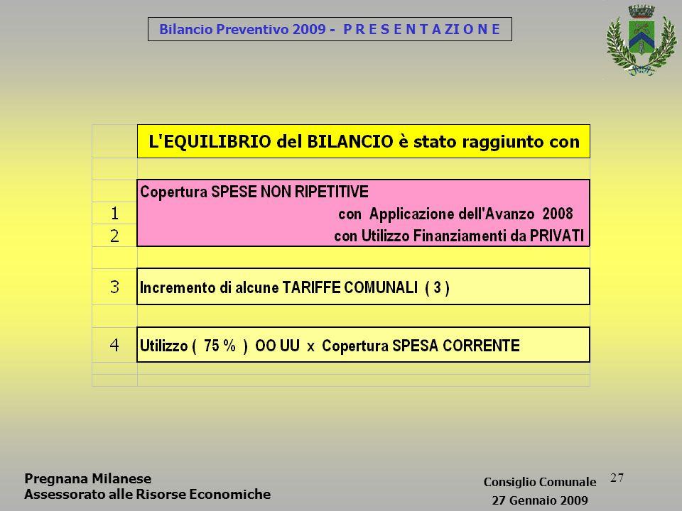 27 Bilancio Preventivo 2009 - P R E S E N T A ZI O N E Pregnana Milanese Assessorato alle Risorse Economiche Consiglio Comunale 27 Gennaio 2009