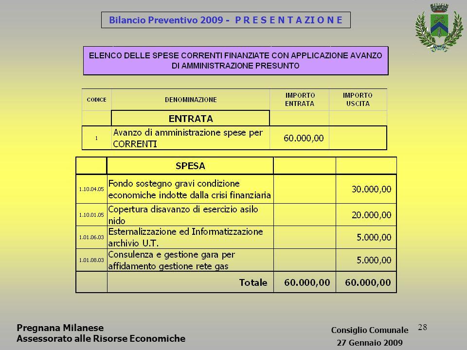 28 Bilancio Preventivo 2009 - P R E S E N T A ZI O N E Pregnana Milanese Assessorato alle Risorse Economiche Consiglio Comunale 27 Gennaio 2009