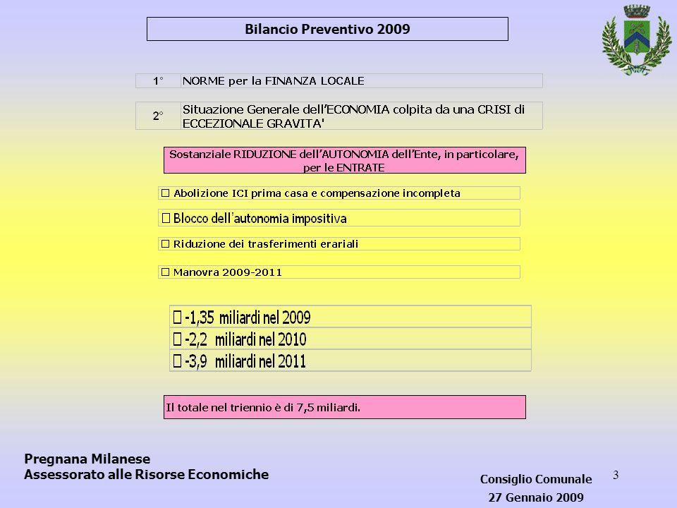 3 Pregnana Milanese Assessorato alle Risorse Economiche Bilancio Preventivo 2009 Consiglio Comunale 27 Gennaio 2009