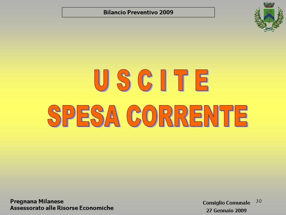 30 Bilancio Preventivo 2009 Pregnana Milanese Assessorato alle Risorse Economiche Consiglio Comunale 27 Gennaio 2009