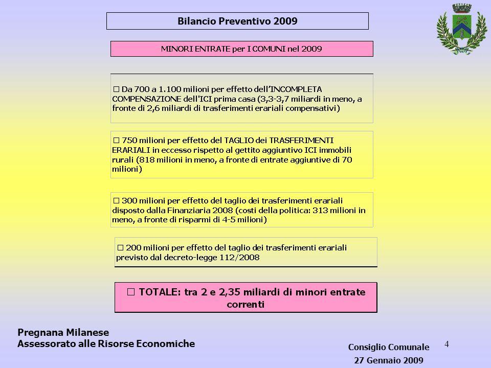 25 Bilancio Preventivo 2009 - P R E S E N T A ZI O N E Pregnana Milanese Assessorato alle Risorse Economiche Consiglio Comunale 27 Gennaio 2009
