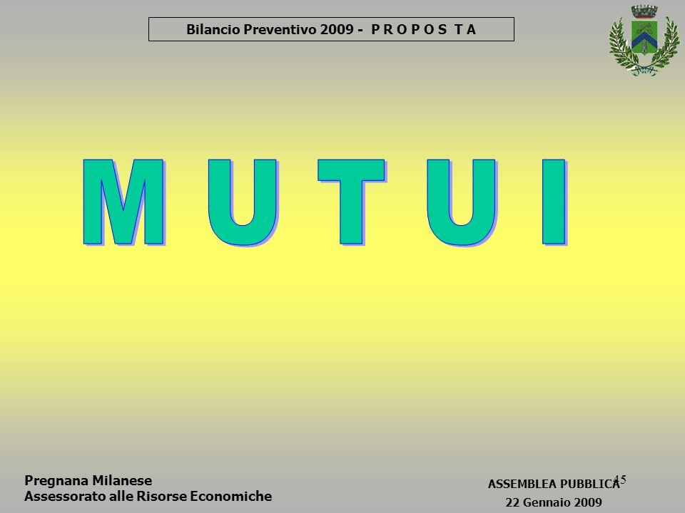 45 Bilancio Preventivo 2009 - P R O P O S T A Pregnana Milanese Assessorato alle Risorse Economiche ASSEMBLEA PUBBLICA 22 Gennaio 2009