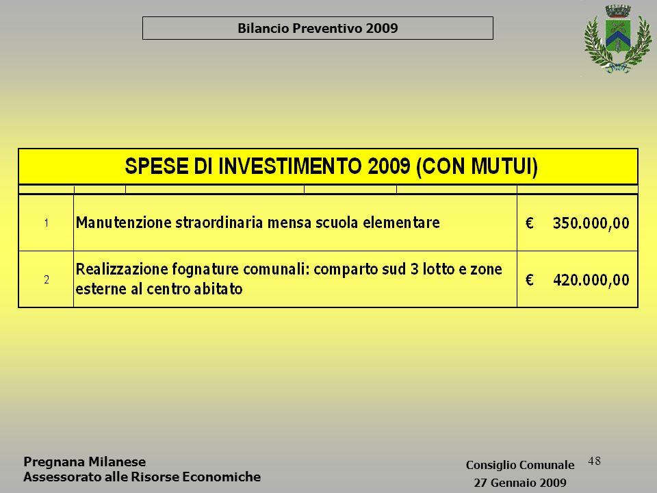 48 Bilancio Preventivo 2009 Pregnana Milanese Assessorato alle Risorse Economiche Consiglio Comunale 27 Gennaio 2009