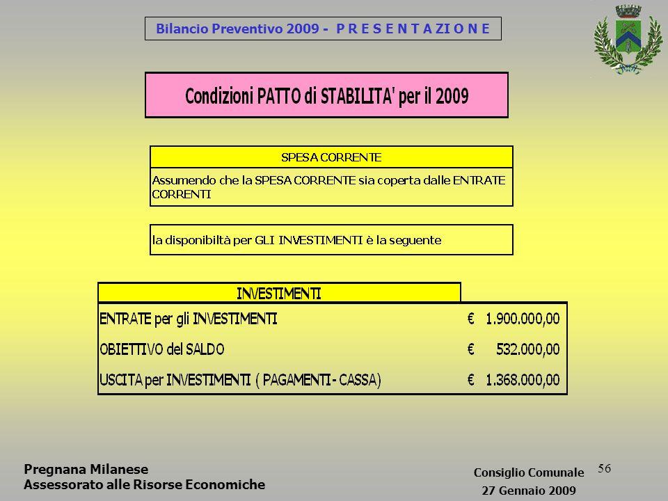 56 Bilancio Preventivo 2009 - P R E S E N T A ZI O N E Consiglio Comunale 27 Gennaio 2009 Pregnana Milanese Assessorato alle Risorse Economiche