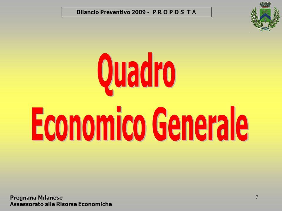 38 Comune di Pregnana Milanese Bilancio PREVISIONE 2009 – P R O P O S T A Pregnana Milanese Assessorato alle Risorse Economiche Consiglio Comunale 27 Gennaio 2009