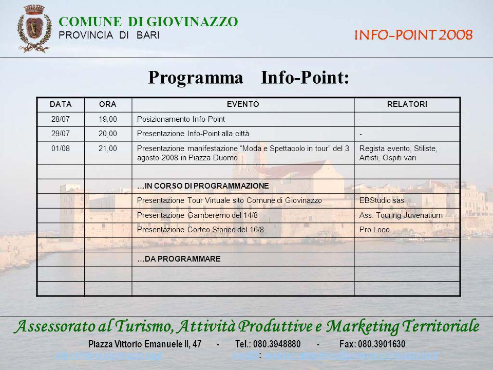 Assessorato al Turismo, Attività Produttive e Marketing Territoriale Piazza Vittorio Emanuele II, 47 - Tel.: 080.3948880 - Fax: 080.3901630 win.comune.giovinazzo.ba.itwin.comune.giovinazzo.ba.it e-m@il: assessoratoturismo@comune.giovinazzo.ba.ite-m@ilassessoratoturismo@comune.giovinazzo.ba.it COMUNE DI GIOVINAZZO PROVINCIA DI BARI INFO-POINT 2008