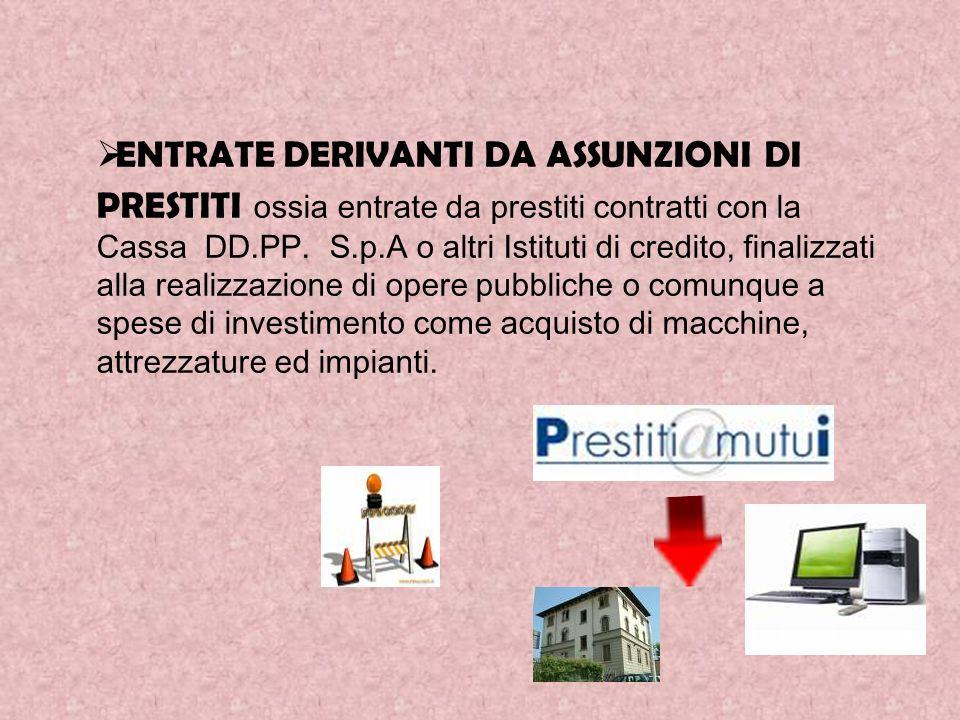 ENTRATE DERIVANTI DA ASSUNZIONI DI PRESTITI ossia entrate da prestiti contratti con la Cassa DD.PP.