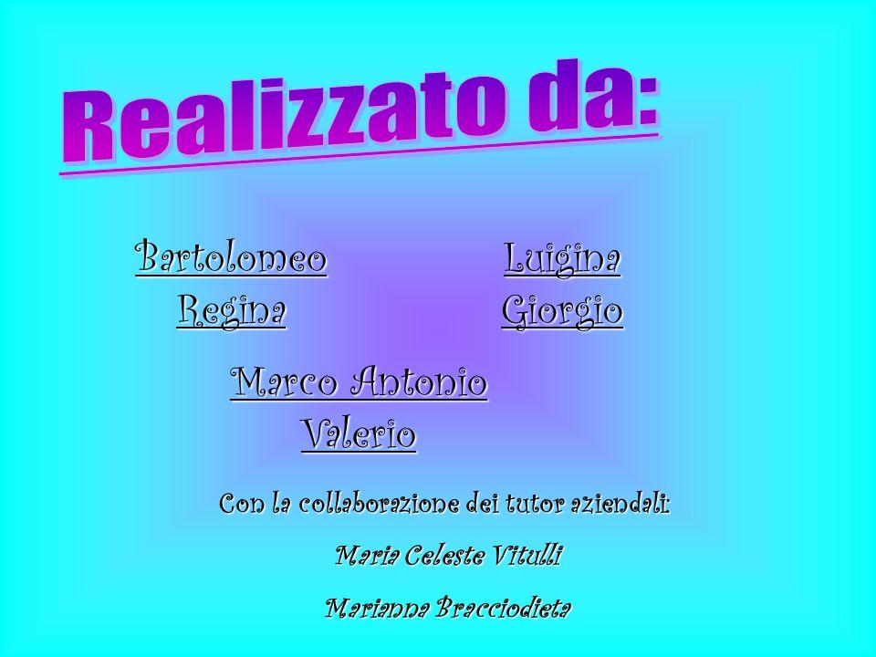 Bartolomeo Regina Luigina Giorgio Marco Antonio Valerio Con la collaborazione dei tutor aziendali: Maria Celeste Vitulli Marianna Bracciodieta
