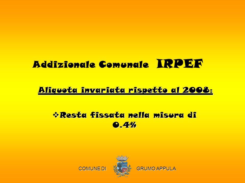 Addizionale Comunale IRPEF Aliquota invariata rispetto al 2008: Resta fissata nella misura di 0.4% COMUNE DI GRUMO APPULA