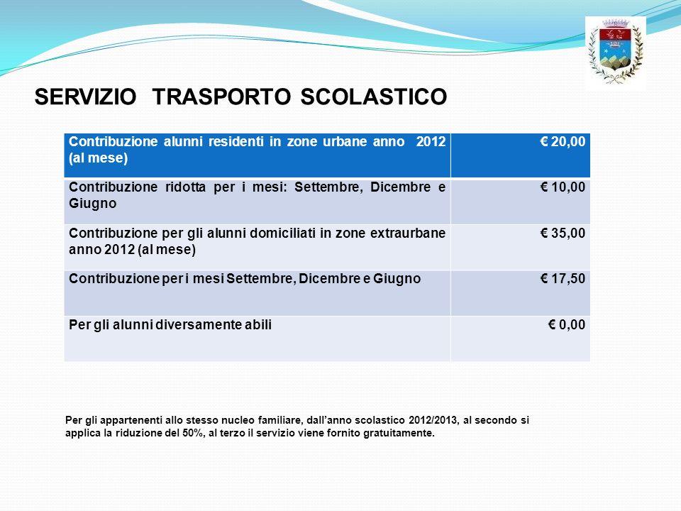 SERVIZIO TRASPORTO SCOLASTICO Contribuzione alunni residenti in zone urbane anno 2012 (al mese) 20,00 Contribuzione ridotta per i mesi: Settembre, Dic