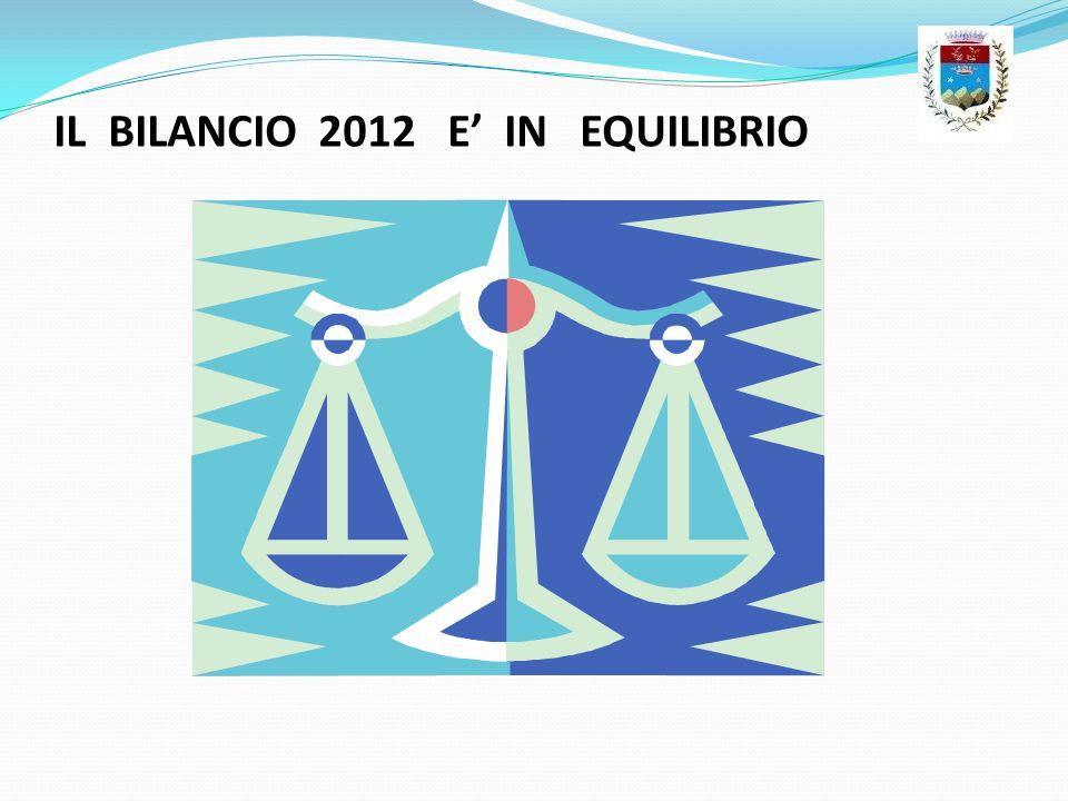 IL BILANCIO 2012 E IN EQUILIBRIO