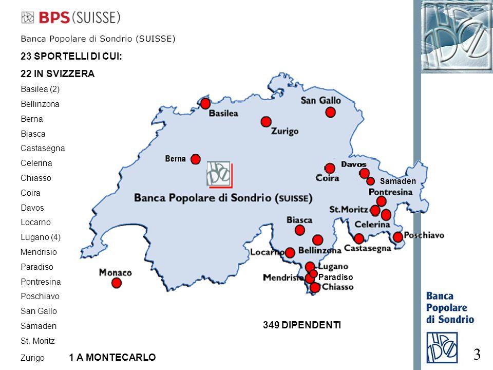 3 Paradiso 349 DIPENDENTI 23 SPORTELLI DI CUI: 22 IN SVIZZERA Basilea (2) Bellinzona Berna Biasca Castasegna Celerina Chiasso Coira Davos Locarno Luga