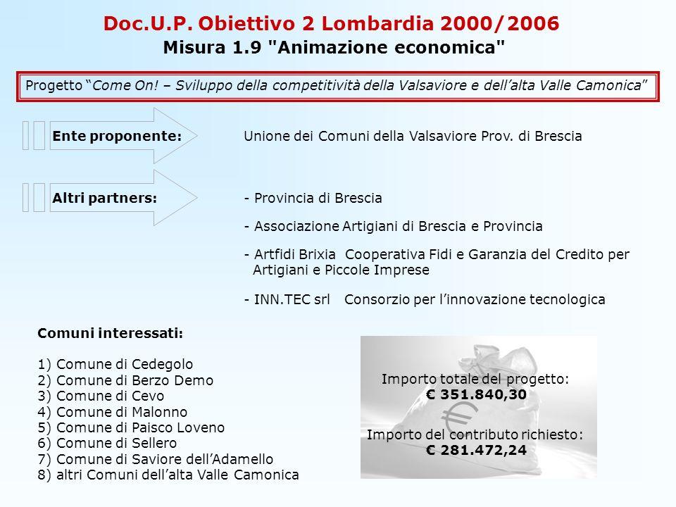 Doc.U.P.Obiettivo 2 Lombardia 2000/2006 Misura 1.9 Animazione economica Progetto Come On.