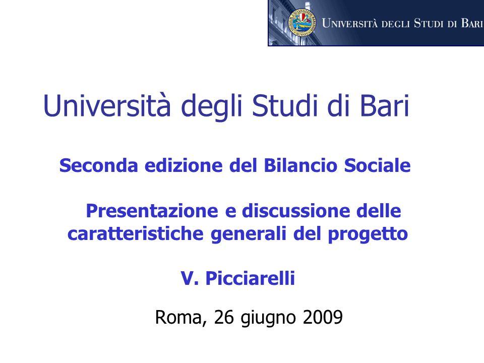 Università degli Studi di Bari Roma, 26 giugno 2009 Seconda edizione del Bilancio Sociale Presentazione e discussione delle caratteristiche generali del progetto V.