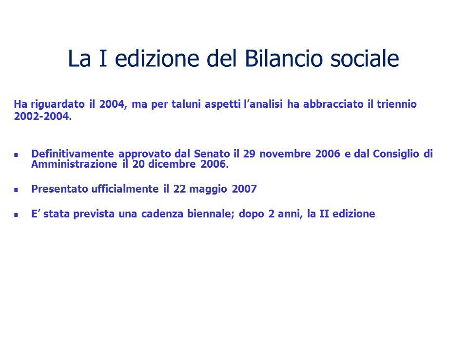 La I edizione del Bilancio sociale Ha riguardato il 2004, ma per taluni aspetti lanalisi ha abbracciato il triennio 2002-2004.