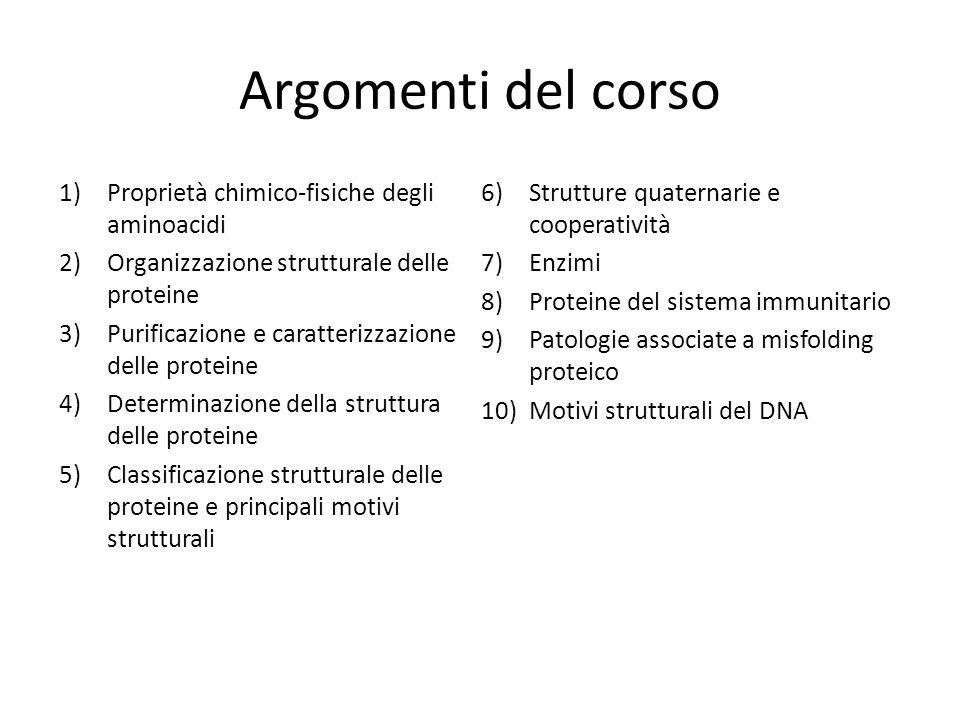 Argomenti del corso 1)Proprietà chimico-fisiche degli aminoacidi 2)Organizzazione strutturale delle proteine 3)Purificazione e caratterizzazione delle