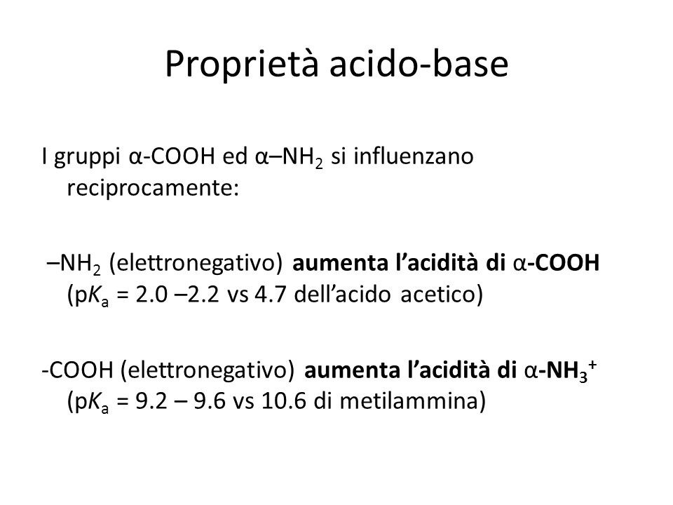 Proprietà acido-base I gruppi α-COOH ed α–NH 2 si influenzano reciprocamente: –NH 2 (elettronegativo) aumenta lacidità di α-COOH (pK a = 2.0 –2.2 vs 4