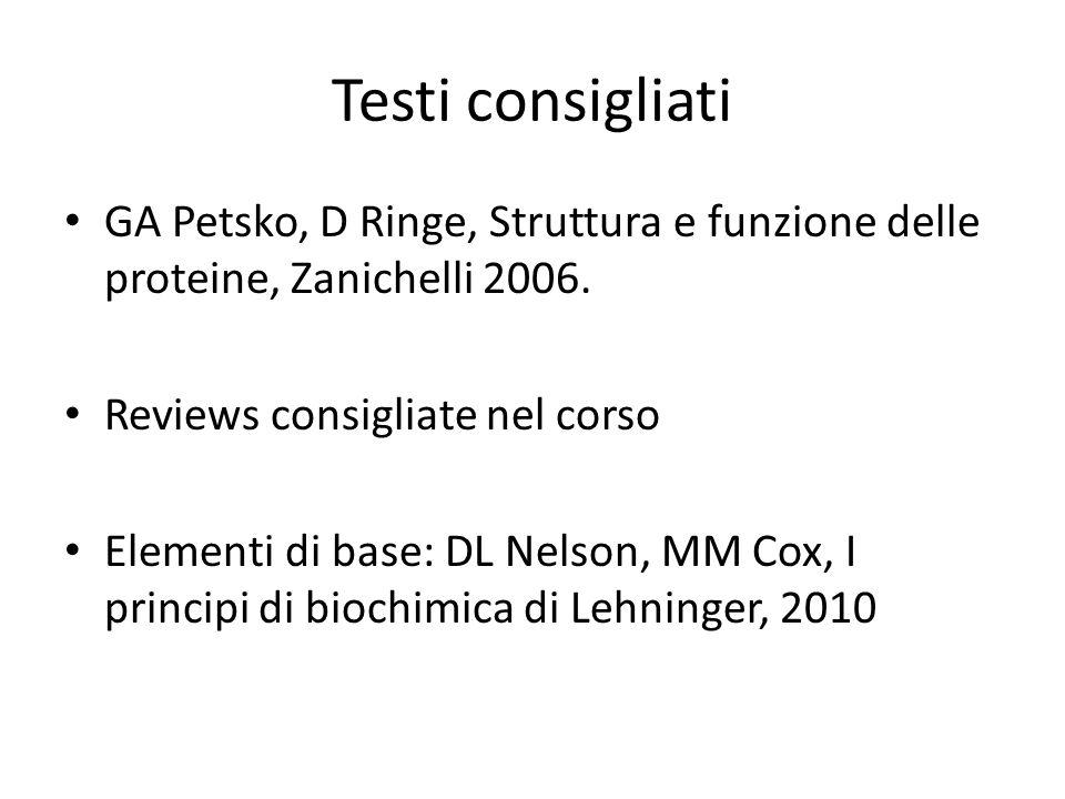 Testi consigliati GA Petsko, D Ringe, Struttura e funzione delle proteine, Zanichelli 2006. Reviews consigliate nel corso Elementi di base: DL Nelson,