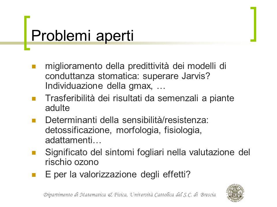 Dipartimento di Matematica & Fisica, Università Cattolica del S.C. di Brescia Problemi aperti miglioramento della predittività dei modelli di condutta