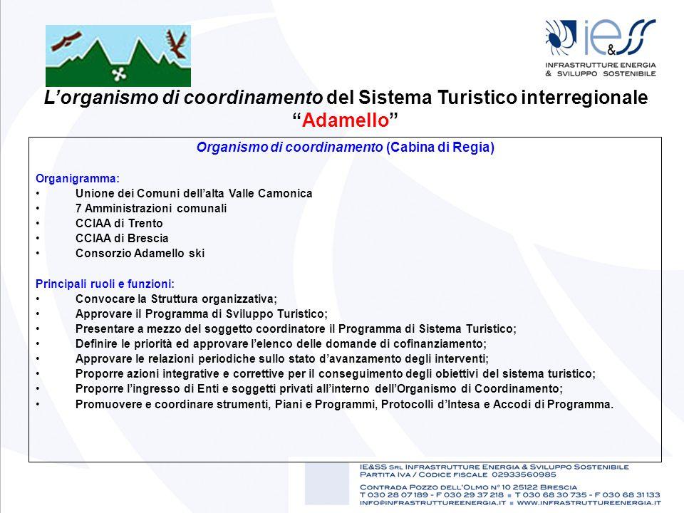 Organismo di coordinamento (Cabina di Regia) Organigramma: Unione dei Comuni dellalta Valle Camonica 7 Amministrazioni comunali CCIAA di Trento CCIAA