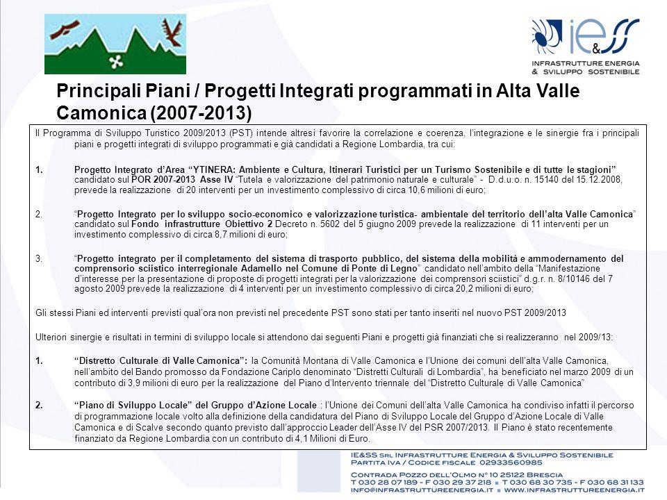 Principali Piani / Progetti Integrati programmati in Alta Valle Camonica (2007-2013) Il Programma di Sviluppo Turistico 2009/2013 (PST) intende altres