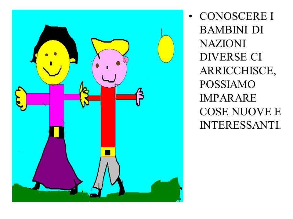 CONOSCERE I BAMBINI DI NAZIONI DIVERSE CI ARRICCHISCE, POSSIAMO IMPARARE COSE NUOVE E INTERESSANTI.