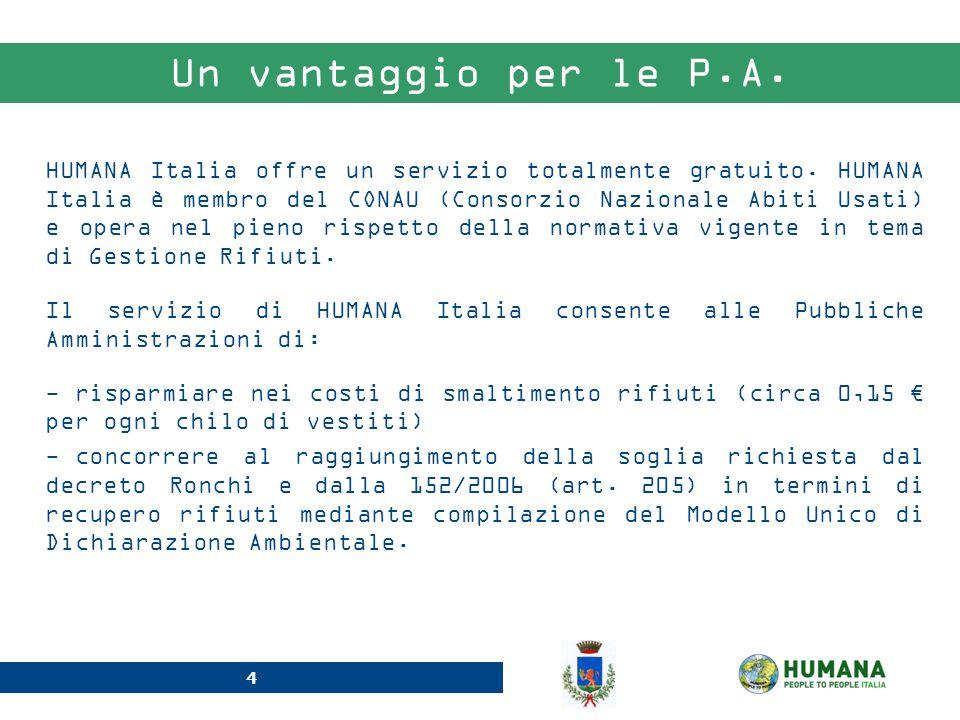 4 Un vantaggio per le P.A. HUMANA Italia offre un servizio totalmente gratuito. HUMANA Italia è membro del CONAU (Consorzio Nazionale Abiti Usati) e o