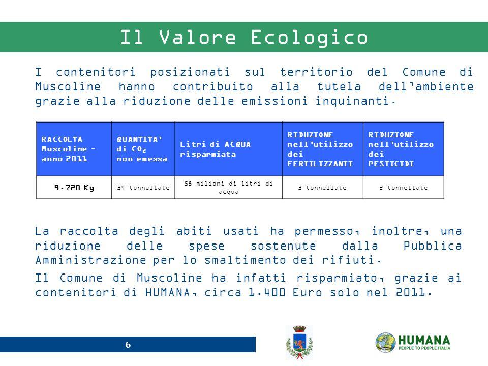 6 Il Valore Ecologico I contenitori posizionati sul territorio del Comune di Muscoline hanno contribuito alla tutela dellambiente grazie alla riduzion