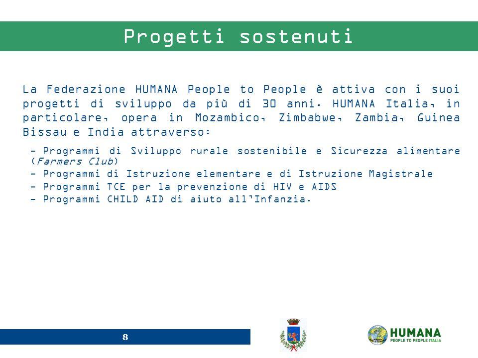 8 Progetti sostenuti - Programmi di Sviluppo rurale sostenibile e Sicurezza alimentare (Farmers Club) - Programmi di Istruzione elementare e di Istruz
