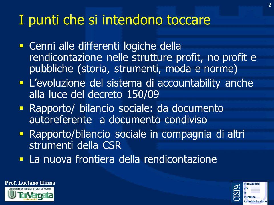 Prof. Luciano Hinna 2 I punti che si intendono toccare Cenni alle differenti logiche della rendicontazione nelle strutture profit, no profit e pubblic