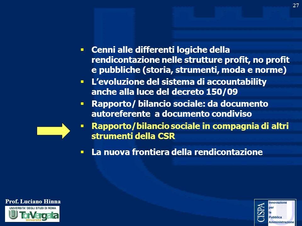Prof. Luciano Hinna 27 Cenni alle differenti logiche della rendicontazione nelle strutture profit, no profit e pubbliche (storia, strumenti, moda e no
