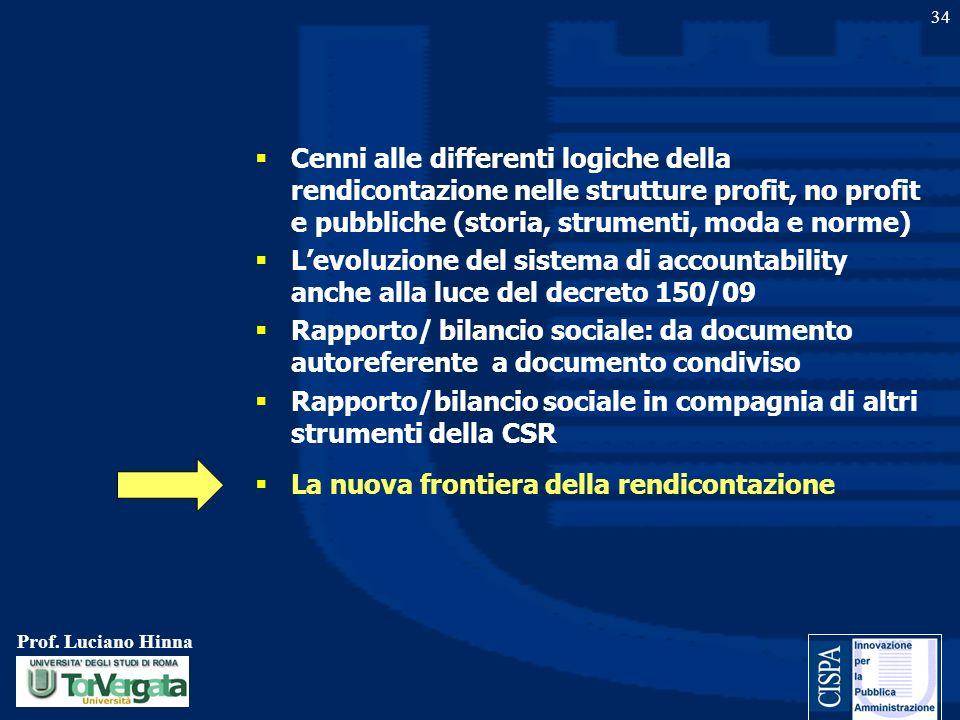 Prof. Luciano Hinna 34 Cenni alle differenti logiche della rendicontazione nelle strutture profit, no profit e pubbliche (storia, strumenti, moda e no