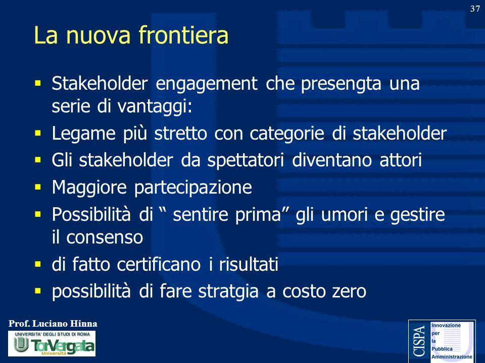 Prof. Luciano Hinna 37 La nuova frontiera Stakeholder engagement che presengta una serie di vantaggi: Legame più stretto con categorie di stakeholder
